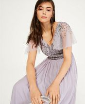 Adrianna Papell Illusion-Sleeve Beaded A-Line Gown Lilac Grey Size 6 $249 image 3