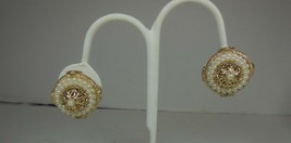 Vintage Coro Gold Tone Faux Pearl Dome Earrings - $10.88