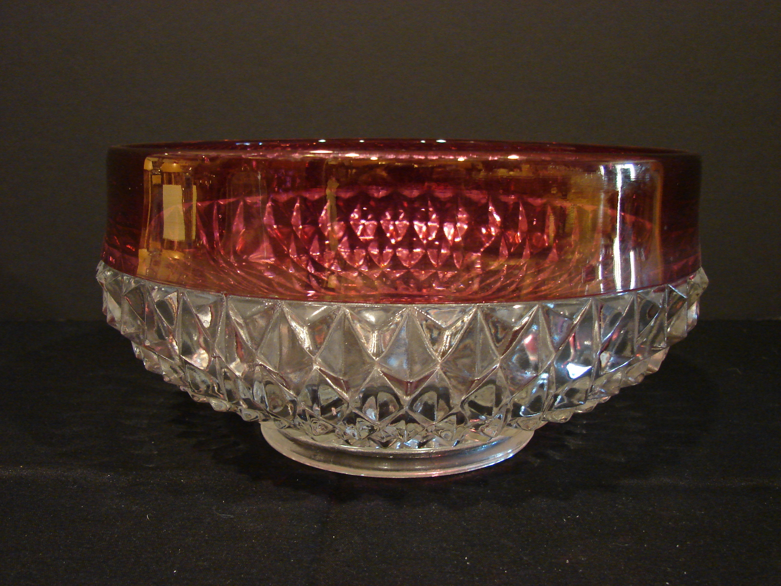 Indiana Glass Diamond Point Ruby Red Flashing Vintage Serving Bowl