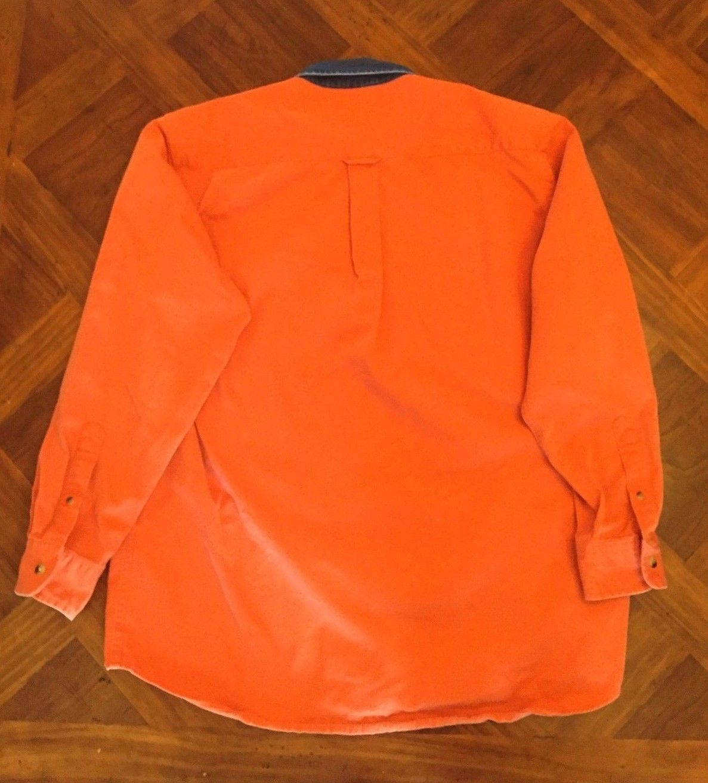 Vintage 90's Nautica Denim Collar Shirt Heavy Cotton Sailing Orange Size M