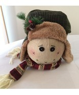 FUR KNIT CAP AND SCARVE STUFFED CHILD SNOWMAN DECOR CENTERPIECE-NWT-ADORABLE - £8.78 GBP