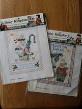 2 Bucilla Stamped Cross Stitch Sampler Daisy Kingdom Christmas 63442 Bunny Goose - $6.92