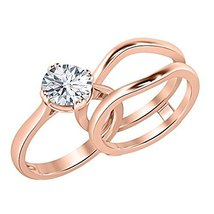 Simulated Diamond 14K Rose Gold Finish Sliver 925 Engagement Bridal Ring set  - $99.99