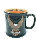 Harley Davidson Coffee Mug 3D Eagle Black Orange Official Large Cup (2001) - $14.80