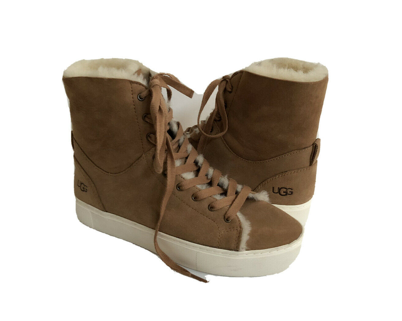 UGG BEVEN CHESTNUT CUFFABLE HIGH TOP LEATHER SNEAKER US 9.5 / EU 40.5 / UK 7.5 - $92.57