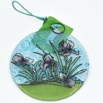 Purple Iris Flower Fused Art Glass Ornament Sun Catcher Handmade Ecuador