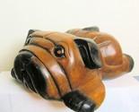 Vintage Hand Carved Wood Pug Bulldog Resting