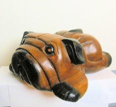Vintage Hand Carved Wood Pug Bulldog Resting - $49.00