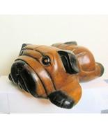 Vintage Hand Carved Wood Pug Bulldog Resting - $49.00