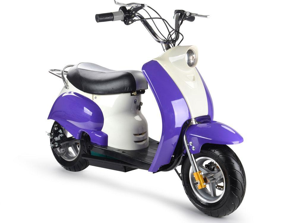 MotoTec 24v Electric Moped Purple Scooter Kid's 13+ Yrs 15 MPH