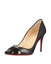 Christian Louboutin  Biblio Black Leather 85mm Red Sole Pumps Shoes 38.5 - €489,76 EUR