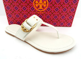 f2fb9837408 New TORY BURCH Size 10 MARSDEN Ivory Thong Logo Sandals Shoes - £139.72 GBP