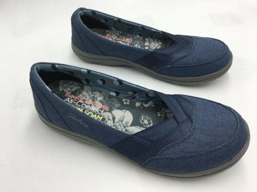 Skechers Womens 6 Chambray Navy Blue Lite Step Memory Foam Comfort Shoes