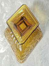 MARIGOLD IRIDESCENT CARNIVAL GLASS  CANDY/NUT DISH DIAMOND SHAPED FLORAL DESIGN image 3