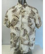 Mens Tasso Elba Island Hawaiian Shirt Button Front Brown Floral XXL Silk... - $24.74