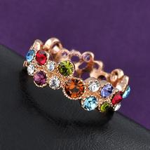 multi color Swarovski crystal cocktail ring hot sale hollow cirle ring image 2