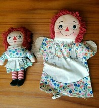 """Vintage 1970s Raggedy Ann Hand Puppet(10"""") and Doll (7"""") both by Knicker... - $15.47"""