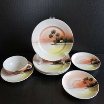 8 Pc Vintage Lusterware Hand Painted Lake Cabin Scene Cup Saucers Plates... - $39.99