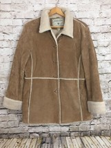 St Johns Bay Women's Washable Suede Leather Sherpa Rancher Coat Jacket L... - $54.23