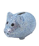 Blue Crystal Pig Metal Coin Piggy Bank w/ Swarovski Crystals - Baby Gift - $54.44