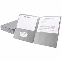 FILE-EZ Two-Pocket Folders, Gray, 25-Pack, Textured Paper, Letter Size E... - $22.26