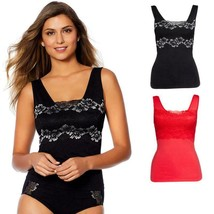 Rhonda Shear Lace-Overlay Tank with Shelf Bra 2-pack in Black/Red, XS 60... - $22.76