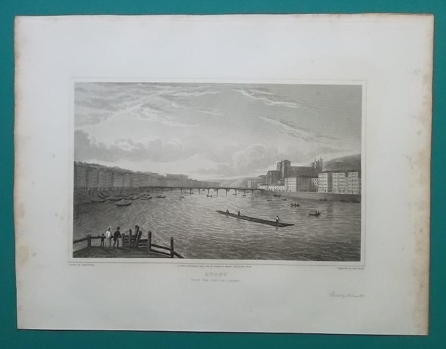 FRANCE City of Lyon & Saone River Lyons - 1821 Antique Print by Cpt. Batty