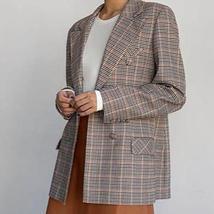 Women's  Double Breasted Plaid Blazer Pant Suit Set image 4