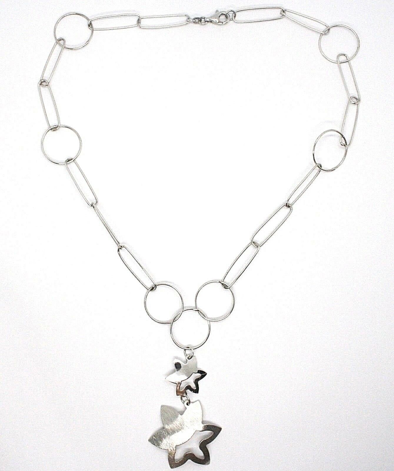 SILVER 925 NECKLACE, CHAIN CIRCLES, DOUBLE FLOWER, SUN HANGING, SATIN