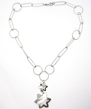 SILVER 925 NECKLACE, CHAIN CIRCLES, DOUBLE FLOWER, SUN HANGING, SATIN image 1