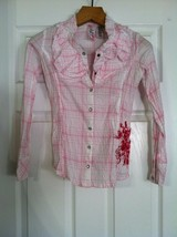 GUESS TEENAGE GIRLS PRE-OWNED PINK 100%COTTON BLOUSE W/SNAP BUTTONS SIZE... - $31.32