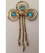 Vtg Brooch Pin Turquoise Blue Rhinestones in Circles Dangling C Chain Go... - $19.74