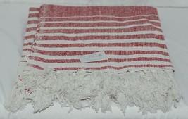 Midwest CBK Brand 147908 Red White Striped Tasseled Throw Blanket image 2