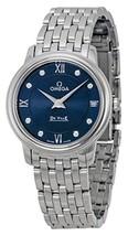 Omega DeVille Prestige Blue Diamond Dial Stainless Steel Ladies Watch 4241027605 - $2,754.24