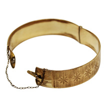 1900's Antique Victorian Bangle Engraved Gold Bracelet14ct Gold Rolled V... - $160.00