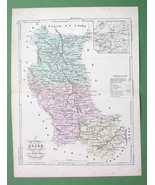 MAP FRANCE Department Loire & Environs of Montbrison - 1855 H/C Color Or... - $3.37
