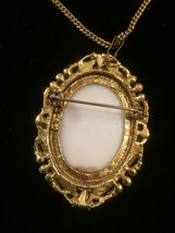 """Vintage 40s Painted Portrait """"cameo-style"""" necklace/pin image 4"""