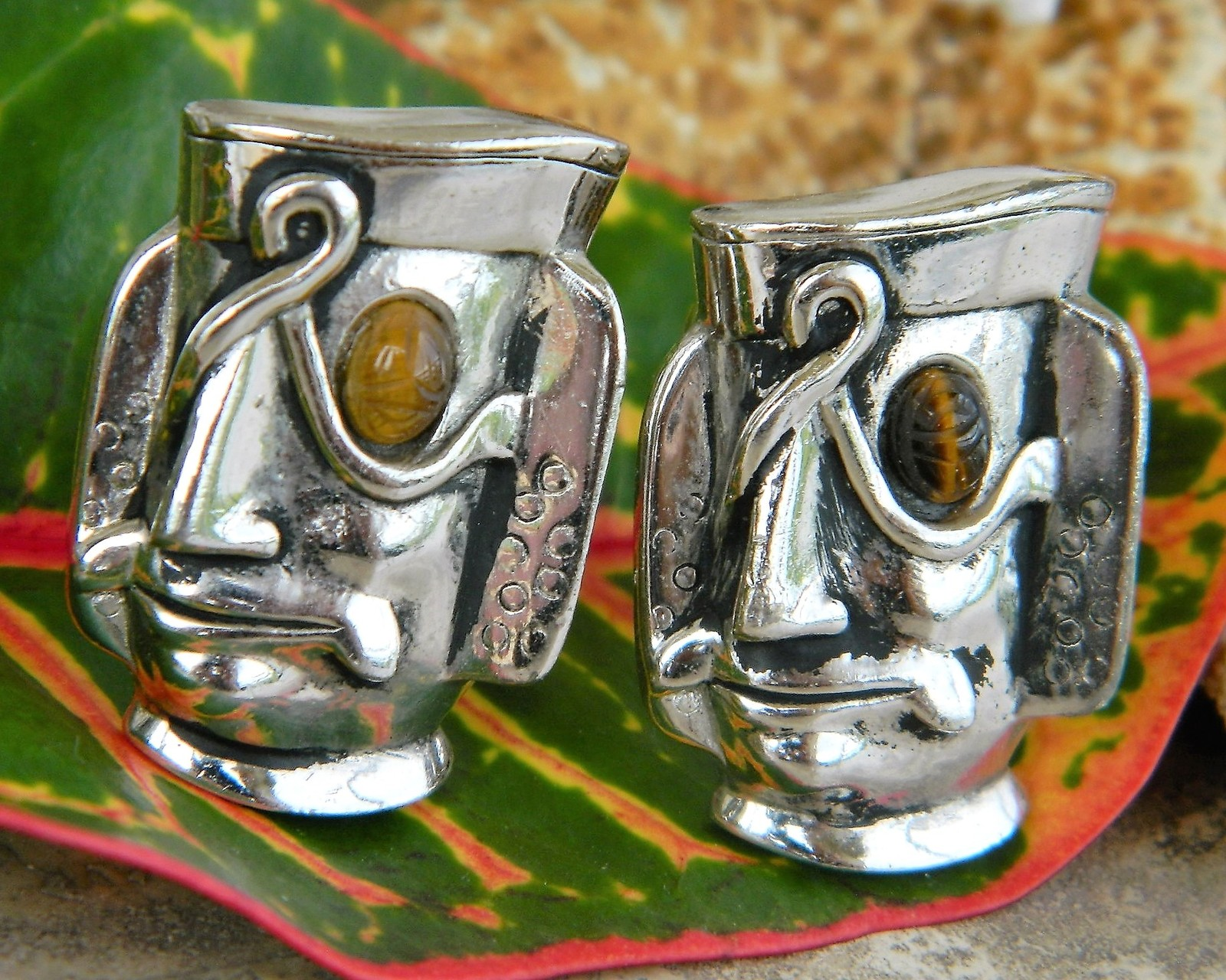 Vintage Swank Cufflinks Tribal Mayan Aztec Warrior Mask Face Figural