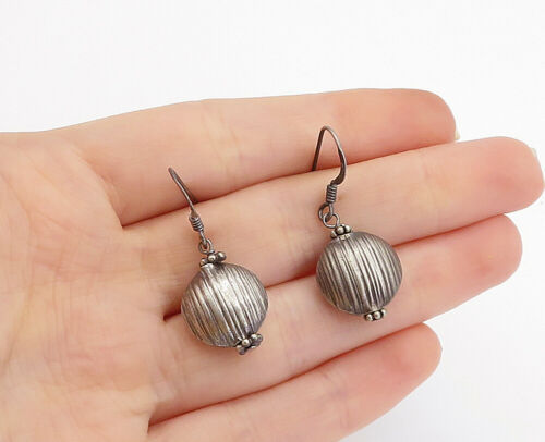 Primary image for 925 Sterling Silver - Vintage Dark Tone Hollow Round Dangle Earrings - E9183