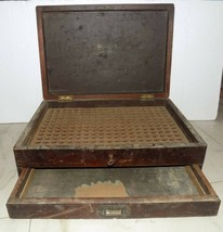Vintage Wooden Box With Lock & Key Chest Apothecary For Homeopathic Medi... - $224.10