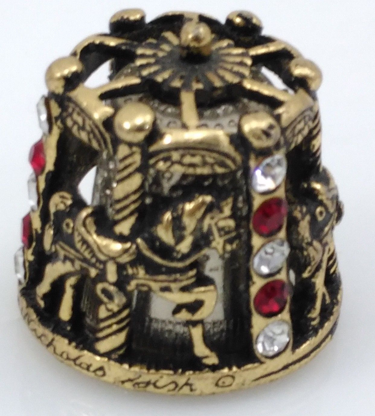 THIMBLE PEWTER CAROUSEL NICHOLAS GISH & SIGNED W/RED & CLEAR CRYSTALS