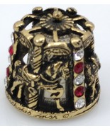 THIMBLE PEWTER CAROUSEL NICHOLAS GISH & SIGNED W/RED & CLEAR CRYSTALS - $35.00
