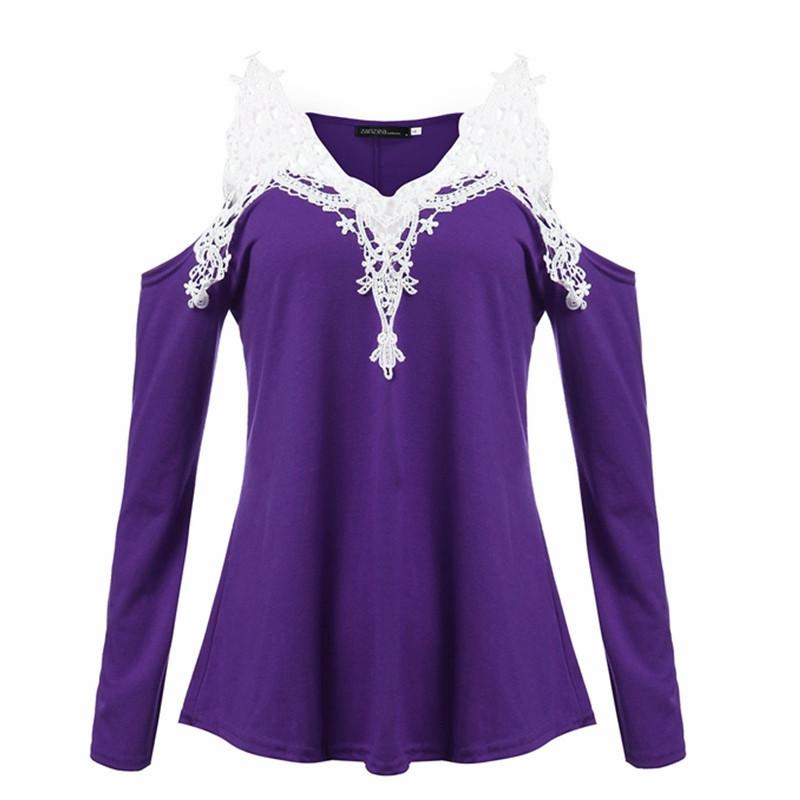 Women's Blouses, Lace Blouse cotton off shoulder V-neck Sleeve