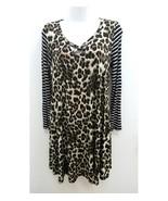 Womens Sz Medium Dress Leopard Black White Striped Long Sleeves V-Neck X... - $16.99