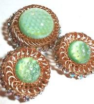 VINTAGE GREEN JELLY OPAL GLASS RHINESTONE BROOCH PIN & EARRINGS DEMI PAR... - $75.00