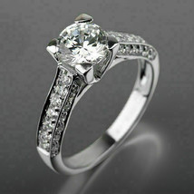 2.20Ct Round Cut VVS1 White Diamond Engagement Ring in Solid 14K White Gold - £203.52 GBP