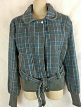 Guess Jeans Wool Blend Gray Blue Plaid Jacket SZ Small Zip W/ Belt Waist... - $29.65