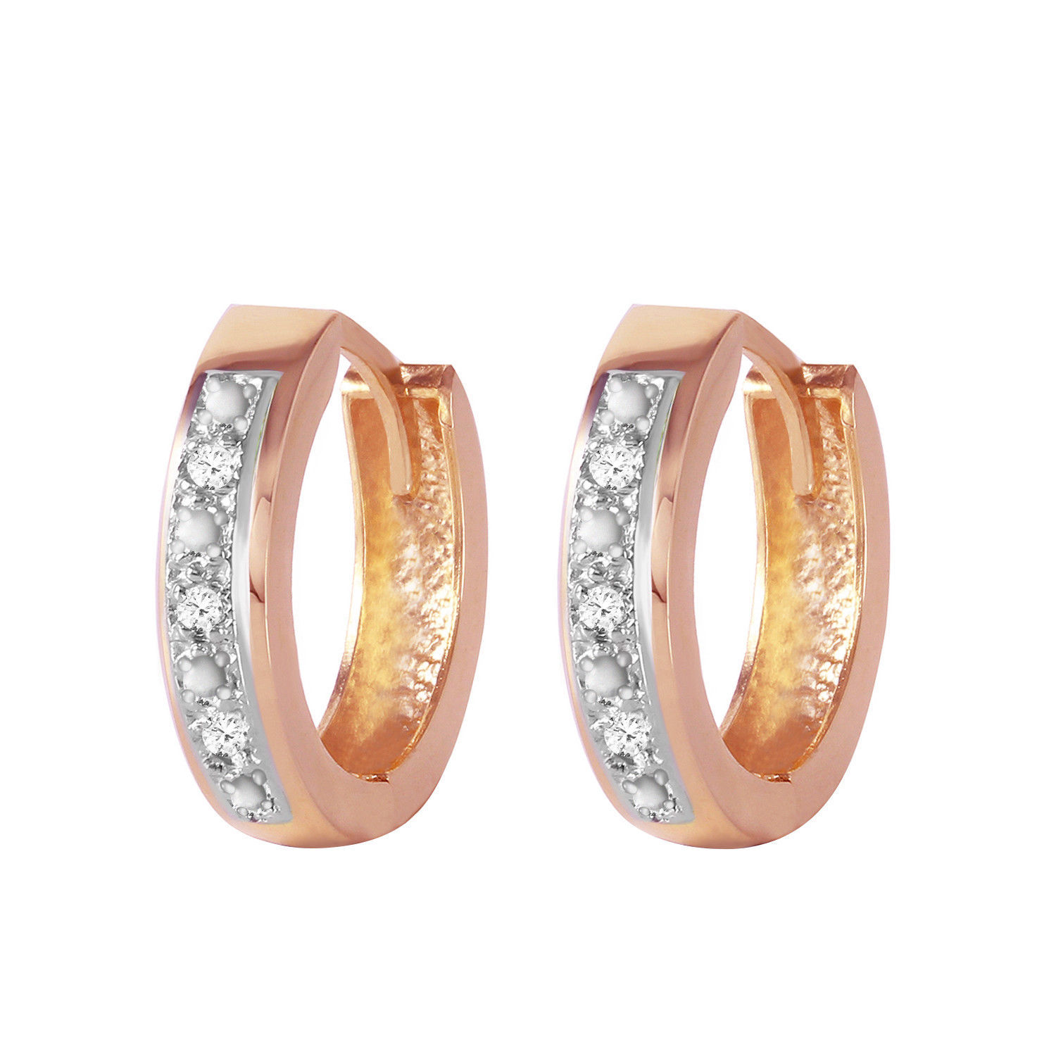 Primary image for 0.04 CTW 14K Solid Rose Gold Hoop Huggie Earrings Diamond