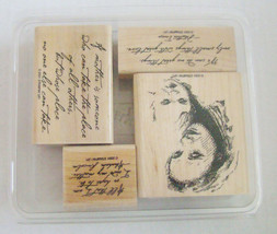 Stampin Up ~ Mother & Child ~ 4 Wood Mounted Rubber Stamps ~ 2001 ~ NEW ~ Retire - $16.44
