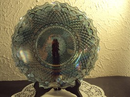 Vintage carnival glass ruffle edge dish diamond iridescent blue Indiana ... - $39.19